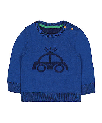 blue car knitted jumper