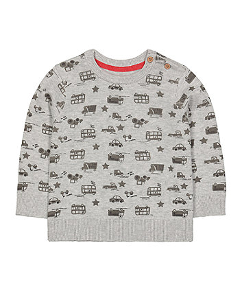 grey vehicle statement knit jumper