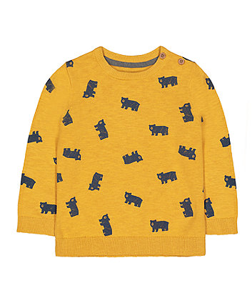 yellow bears statement knit jumper