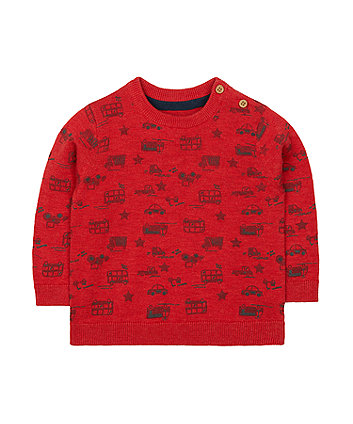 red vehicle statement knit jumper