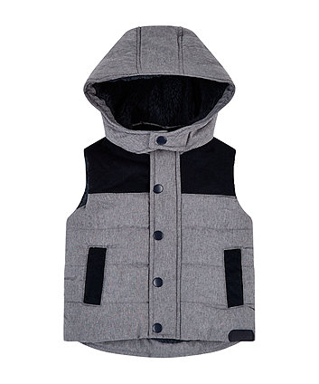 grey and navy gilet