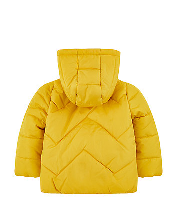 yellow padded jacket with fleece lining