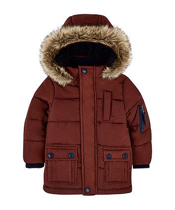 burgundy padded coat