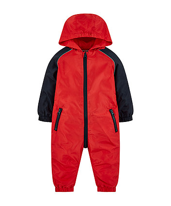red and navy raglan puddlesuit