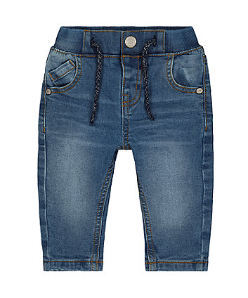 mid-wash denim jeans with jersey lining