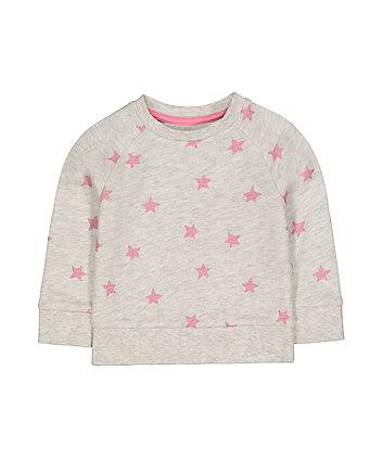grey glitter pink star sweat top