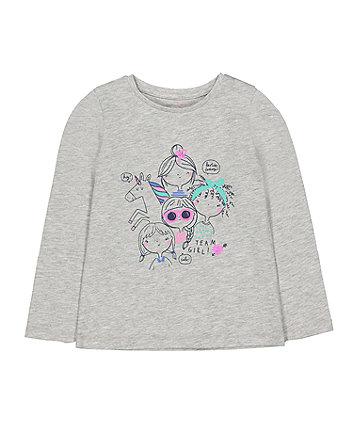 grey sequin girls and unicorn t-shirt