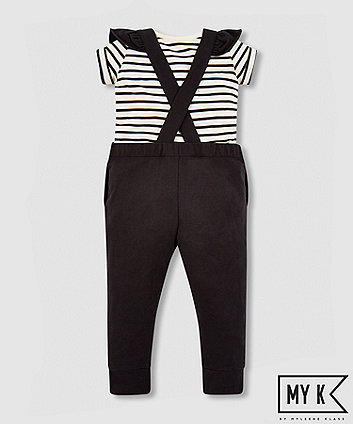 my k black dungaree and t-shirt set