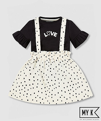 my k black love t-shirt and white skirt set