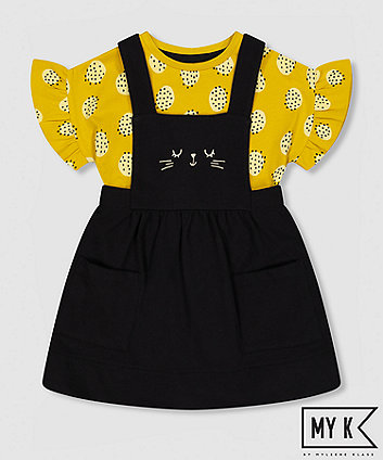 my k black cat pinny dress and mustard t-shirt set