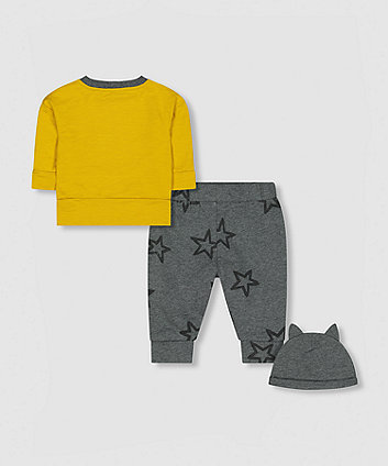 my k bear sweat top, joggers and hat set