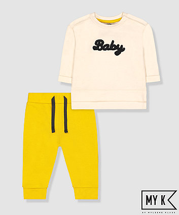 my k baby sweat top and yellow joggers set