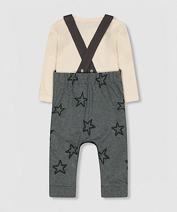 my k star dungarees and rib bodysuit set