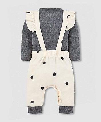 my k frill dungarees and grey bodysuit set