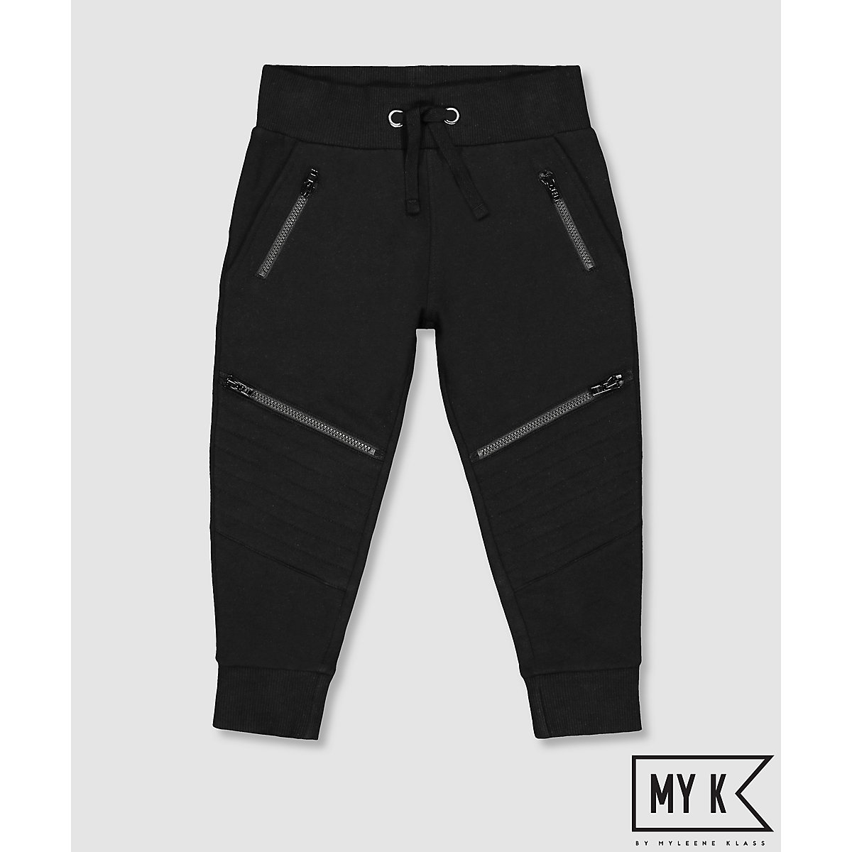 My K Black Joggers With Knee Detail