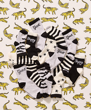 my k black and white socks - 5 pack