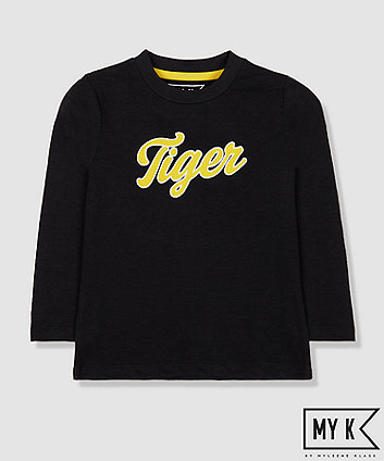 my k black tiger slogan t-shirt