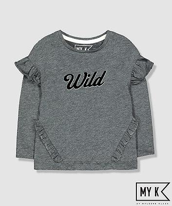 my k grey glitter wild frill t-shirt