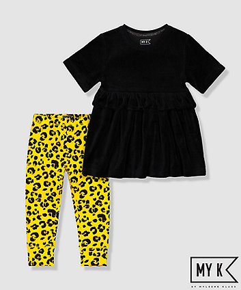 my k black velour tunic and yellow leopard leggings set
