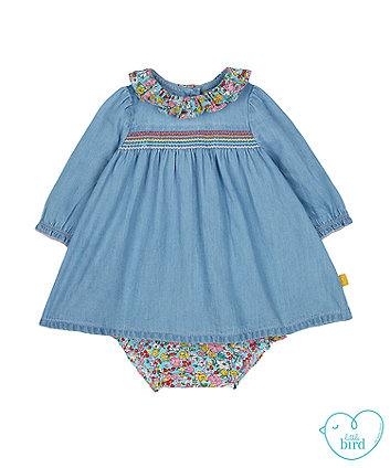 little bird chambray dress and bloomers set