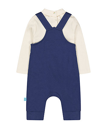 little bird navy dungarees and bodysuit set
