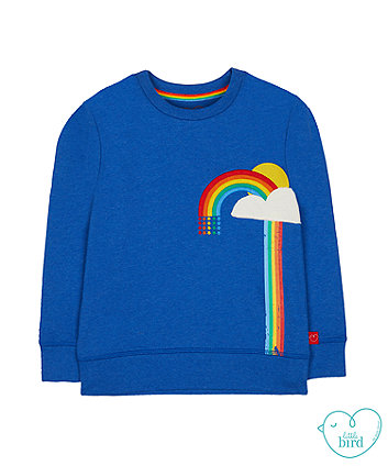 little bird blue rainbow sweat top