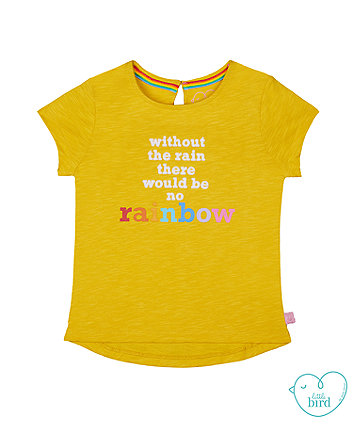 little bird mustard rainbow slogan t-shirt