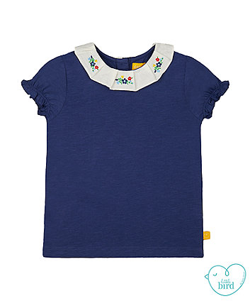 little bird navy floral collar t-shirt