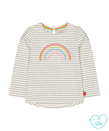 little bird grey stripe rainbow t-shirt