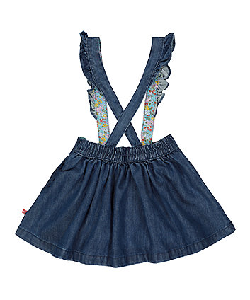 little bird denim floral pinny skirt