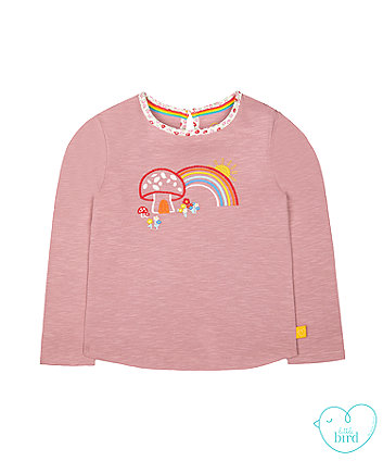 little bird pink embroidered toadstool t-shirt