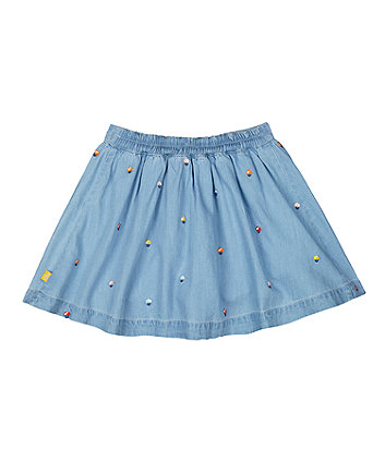 little bird chambray embroidered skirt