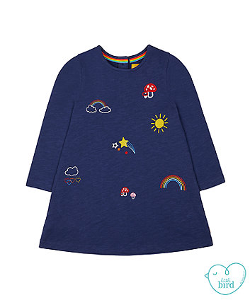 little bird navy rainbow embroidery dress