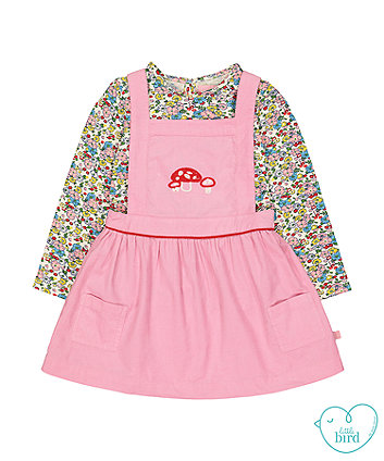 little bird pink pinny dress and floral t-shirt set