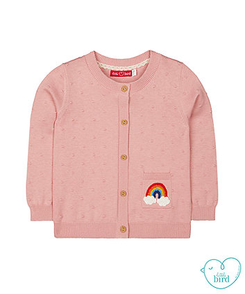 little bird pink rainbow dobby cardigan