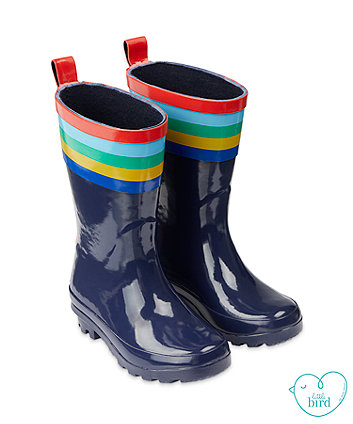 little bird navy stripe wellies