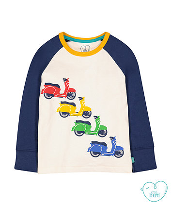 little bird scooter raglan t-shirt