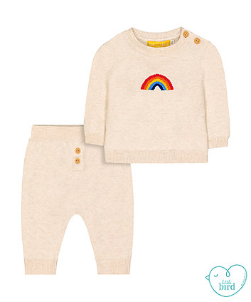 little bird oatmeal rainbow knit jumper and joggers set