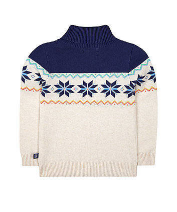 little bird fairisle roll neck knitted jumper