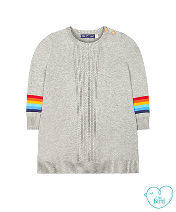 little bird grey rainbow stripe knit dress