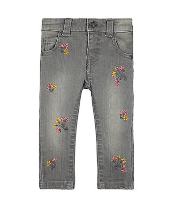 grey embroidered floral jeans
