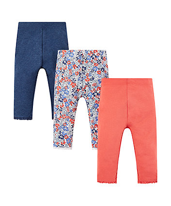floral, blue and coral leggings - 3 pack