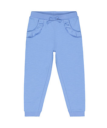 blue frilly joggers