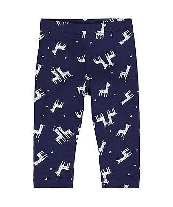 navy llama leggings