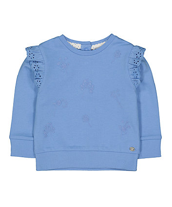 blue embroidered floral sweat top