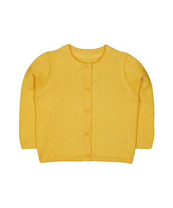 mustard knit pointelle cardigan