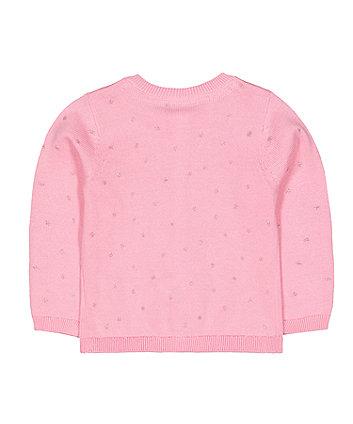 pink knit glitter stars cardigan
