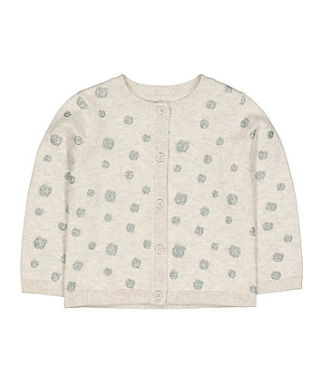 grey glitter pinspot knit cardigan