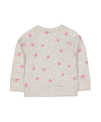 grey glitter pink star sweat top