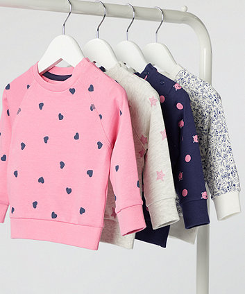 navy and pink cat polka dot sweat top
